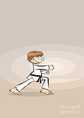 Karate Digital Art - Karate Sportsman Practicing His Punches by Daniel Ghioldi
