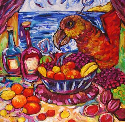 Painting - Karazy Kaka And Fruit Bowl Frenzy by Dianne  Connolly