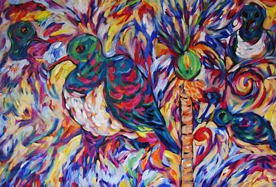 Painting - Karazy Kukupa Nikau Berry Feast by Dianne  Connolly