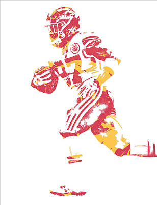 Mixed Media - Kareem Hunt Kansas City Chiefs Pixel Art 1 by Joe Hamilton