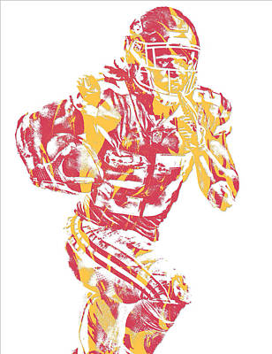 Mixed Media - Kareem Hunt Kansas City Chiefs Pixel Art 10 by Joe Hamilton