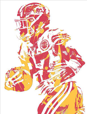 Mixed Media - Kareem Hunt Kansas City Chiefs Pixel Art 12 by Joe Hamilton