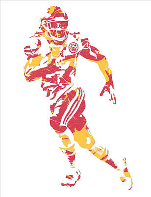 Kareem Hunt Kansas City Chiefs Pixel Art 2 Art Print
