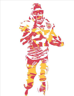 Kareem Hunt Kansas City Chiefs Pixel Art 3 Art Print