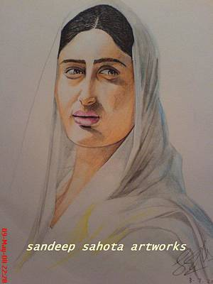 Muslims Of The World Drawing - Kareena In Saree by Sandeep Kumar Sahota
