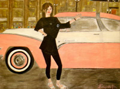 karen-Model in black with pink car Art Print