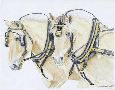 Harness Drawing - Kari And Hannah, Fjords At Work by Laurie With