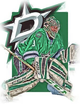 Mixed Media - Kari Lehtnonen Dallas Stars Oil Art by Joe Hamilton