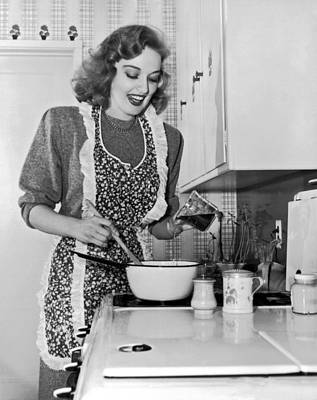 Stove Photograph - Karin Booth Cooking by Underwood Archives
