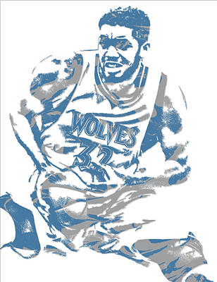 Mixed Media - Karl Anthony Towns Minnesota Timberwolves Pixel Art 5 by Joe Hamilton