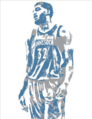 Mixed Media - Karl Anthony Towns Minnesota Timberwolves Pixel Art 6 by Joe Hamilton