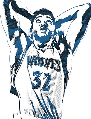 Basket Ball Mixed Media - Karl Anthony Towns Minnesota Timberwolves Pixel Art by Joe Hamilton