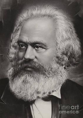Wings Drawing - Karl Marx by Russian School