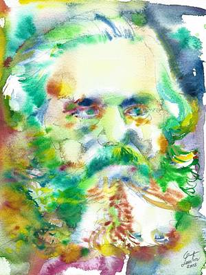 Painting - Karl Marx - Watercolor Portrait.3 by Fabrizio Cassetta