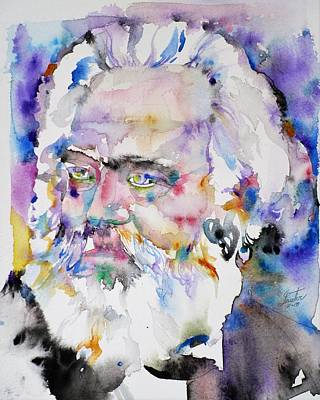 Painting - Karl Marx - Watercolor Portrait.4 by Fabrizio Cassetta