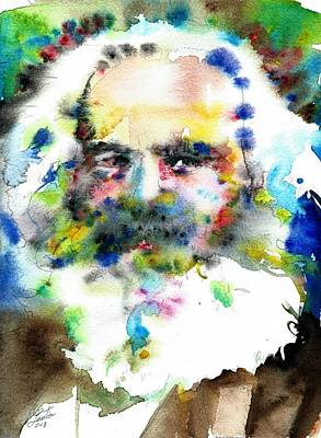 Painting - Karl Marx - Watercolor Portrait.5 by Fabrizio Cassetta