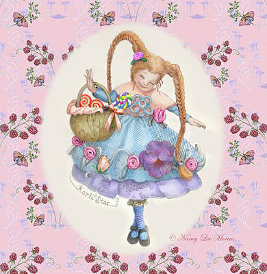 Karli Star With Butterflies And Raspberries In Pink Art Print by Nancy Lee Moran