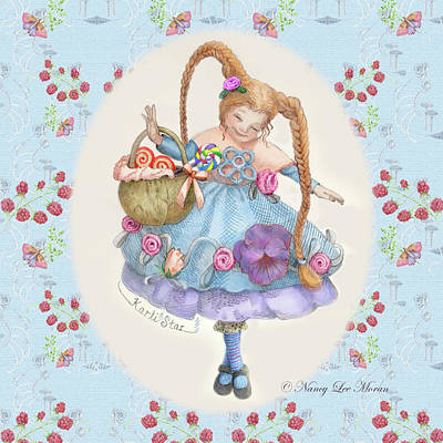Karli Star With Butterflies And Raspberries Art Print by Nancy Lee Moran