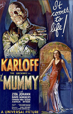 Horror Movies Photograph - Karloff As The Mummy Lobby Poster 1932 by Daniel Hagerman