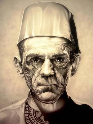 King Tut Drawing - Karloff by Fred Larucci