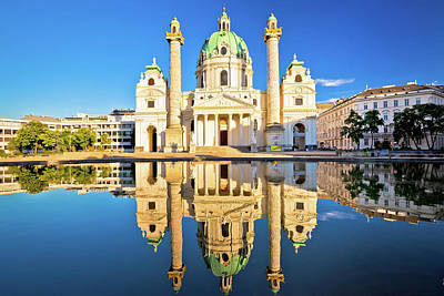 Photograph - Karlskirche Church Of Vienna Reflection View by Brch Photography
