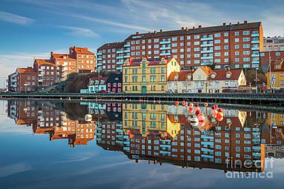 Reflective Morning Photograph - Karlskrona Reflection by Inge Johnsson