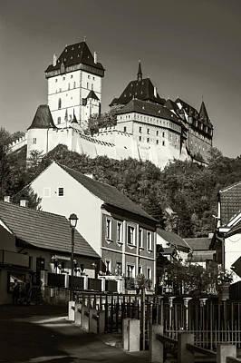Photograph - Karlstein Castle In Village Karlstein. Black And White by Jenny Rainbow
