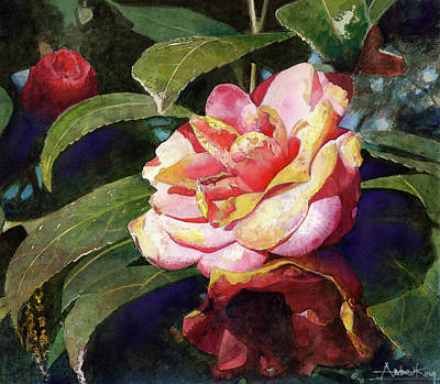 Floral Still Life Painting - Karma Camellia by Andrew King