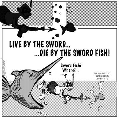 Karma Live By The Sword  Die By The Sword  Art Print by Helen Von Allmen