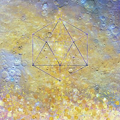 Karmic Evolution, Dreams, Fantasy, Moon, Space, Geometry Art Print by Tina Lavoie