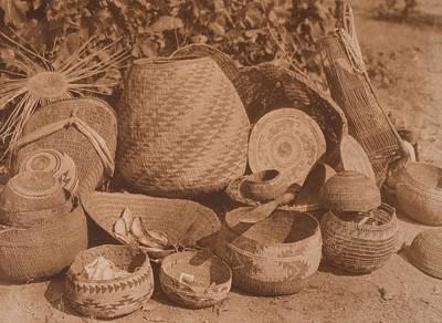 Karok Baskets C.1923 , Native American By Edward Sheriff Curtis, 1868 - 1952 Art Print