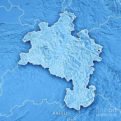 Digital Art - Kassel Regierungsbezirk Hessen 3d Render Topographic Map Blue Bo by Frank Ramspott