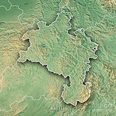 Digital Art - Kassel Regierungsbezirk Hessen 3d Render Topographic Map Border by Frank Ramspott