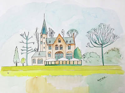 Painting - Kasteel Restaurant, Minnewater, Bruges by Keshava Shukla