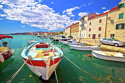 Photograph - Kastel Novi Turquoise Harbor And Historic Architecture View by Brch Photography