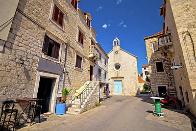Photograph - Kastel Stari Stone Street And Chapel View by Brch Photography