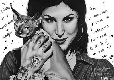 Portrait Drawing - Kat Von D by Elena Spedale