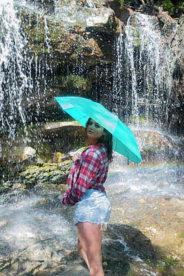 Photograph - Kat With Umbrella At The Falls by Dan Friend