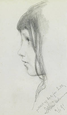 Girl Face Drawing - Kate Millet, January 1891 by Lawrence Alma Tadema