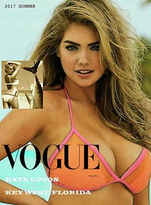 Sailfish Mixed Media - Kate Upton, Vogue Cover, Key West, Florida by Thomas Pollart