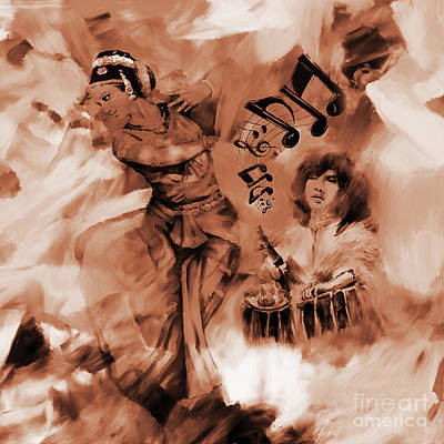 Indian Painting - Kathak Dance On Tabla  by Gull G