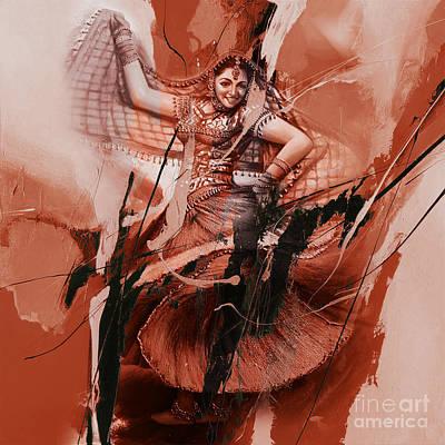 Indian Folk Art Painting - Kathak Dancer 220kh by Gull G