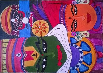 Kathakali Painting - Kathakali Dance by Sahithya Sridhar