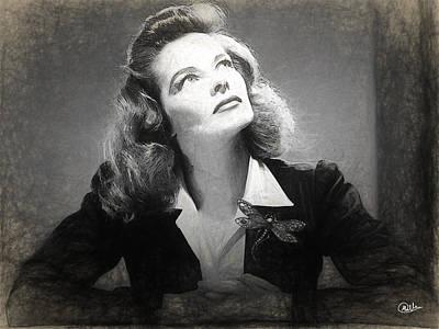 Katharine Hepburn Drawing - Katharine Hepburn by Quim Abella