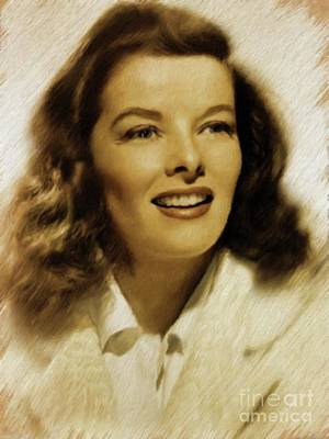 Katharine Hepburn Painting - Katharine Hepburn, Vintage Actress by Mary Bassett
