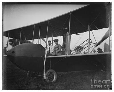 Photograph - Katharine Wright Wearing Leather Jacket Cap Goggles Aboard Wright Model Hs Airplane With Orville by R Muirhead Art