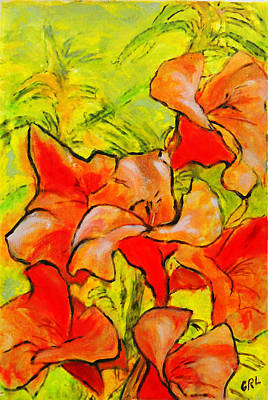 Painting - Kathies Daylilies Fine Art Painting North Carolina by G Linsenmayer