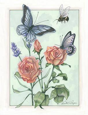Bumblebee Drawing - Kathie's Garden by Krista Payne