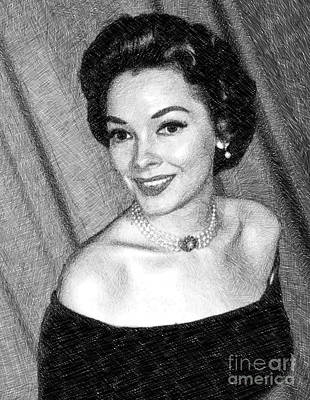 Musicians Drawings Rights Managed Images - Kathryn Grayson, Vintage Actress by JS Royalty-Free Image by John Springfield