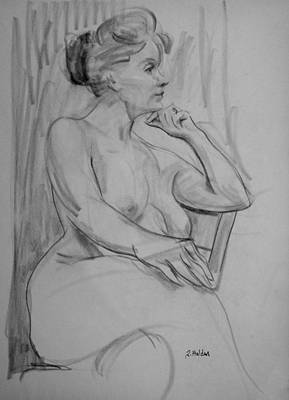 Drawing - Kathy At Ease by Robert Holden